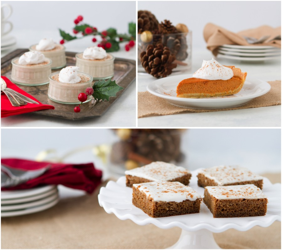 Gingerbread cake, pumpkin pie, and eggnog pudding